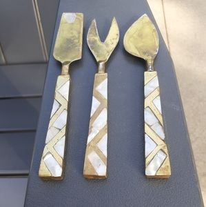 Brass with mother of pearl inlay serving set